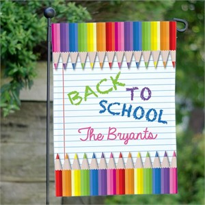 Personalized Back to School Rainbow Pencils Flag