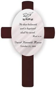 Personalized Baptism Cross - Mark 16:16