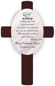 Personalized Baptism Cross - Matthew 17:20