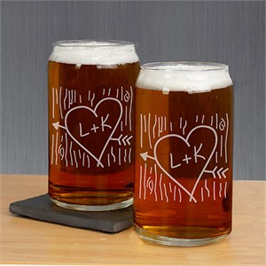 Personalized Beer Glass Couples Set