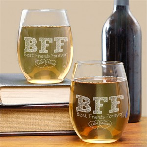 Personalized BFF Wineglass Set