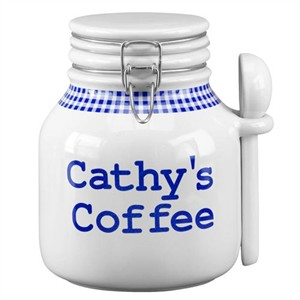 Personalized Blue Gingham Coffee Canister