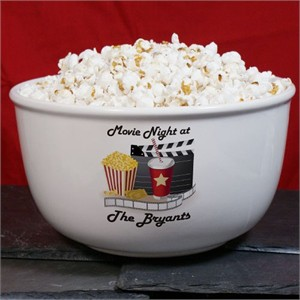 Personalized Ceramic Movie Night Popcorn Bowl