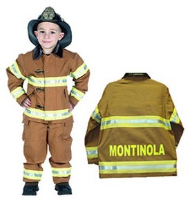 Personalized Child Fire Fighter Costume - Tan