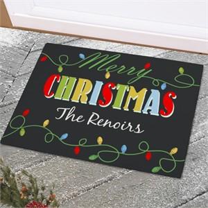 Personalized Christmas Lights Doormat