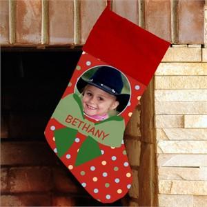 Personalized Christmas Photo Stocking - Polka Dots