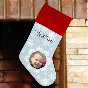 Personalized Christmas Photo Stocking - Snowflakes