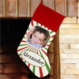 Personalized Christmas Photo Stocking - Stripes