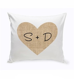 Personalized Couples Heart Throw Pillow