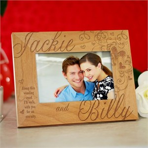Personalized Couples Hearts Wood Frame