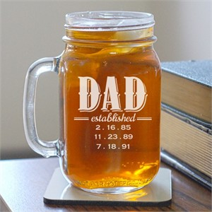 Personalized Dad Established Mason Jar