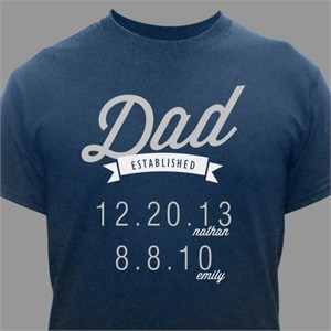 Personalized Established Dad T-Shirt