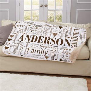 Personalized Family Word Art Sherpa Blanket
