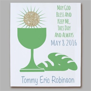 Personalized First Communion Eucharist Wall Canvas - Green