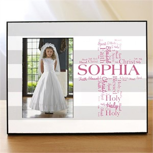 Personalized First Communion Picture Frame- Cross