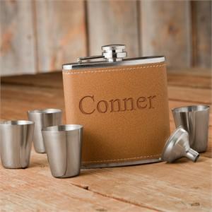 Personalized Flask and Shot Glass Gift Box Set