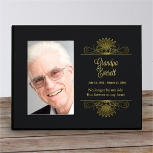 Personalized Gold and Black Memorial Picture Frame