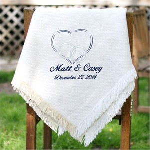 Personalized Heart Wedding Throw