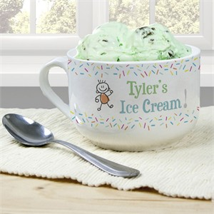Personalized Ice Cream Bowl for Boys