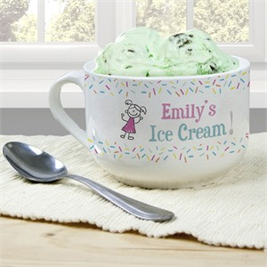 Personalized Ice Cream Bowl for Girls