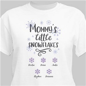 Personalized Little Snowflakes White T-Shirt