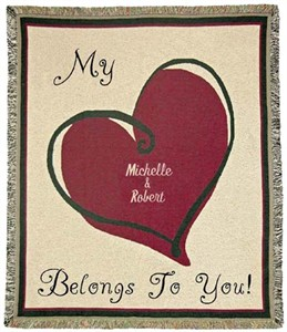 "Personalized Love Throw - ""My Heart Belongs to You"""