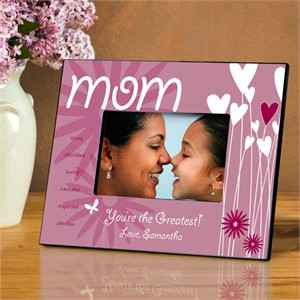 Personalized Mom Picture Frame - Hearts and Flowers