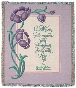 Personalized Mother Tapestry Throw - Purple