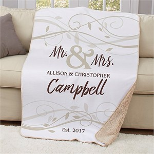 Personalized Mr and Mrs Wedding Sherpa Throw