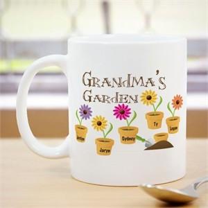Personalized Flower Coffee Mug for Grandma