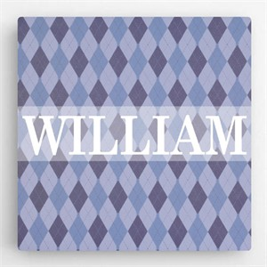 Personalized Pattern Kids Canvas Sign - Boy