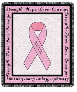 Personalized Pink Ribbon Throw
