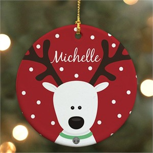 Personalized Reindeer Kids Christmas Ornament