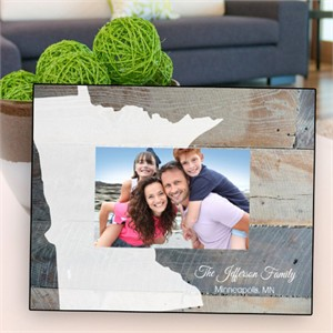 Personalized Rustic Wood State Picture Frame