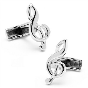 Personalized Sterling Treble Clef Cufflinks