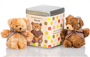 Personalized Teddy Bears Tin - Dots