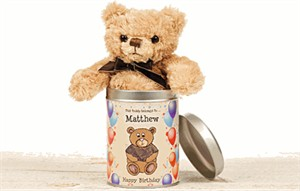 Personalized Teddy In A Tin, Personalized Birthday Gift