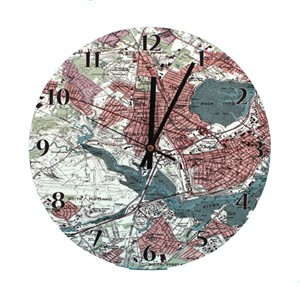 Personalized Vintage Map Clock