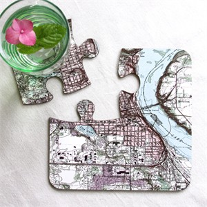 Personalized Vintage Map Jigsaw Coasters