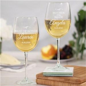 Personalized Wedding Party Wine glass