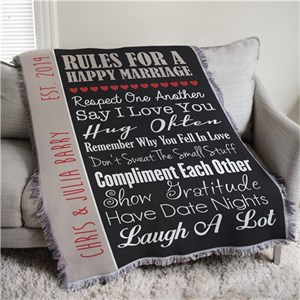 Personalized Wedding Tapestry Throw