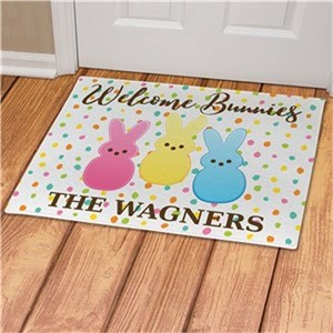 Personalized Welcome Bunnies Dotted Doormat