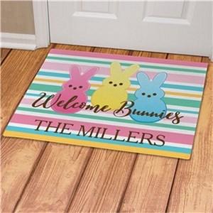 Personalized Welcome Bunnies Striped Doormat