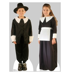 Pilgrim Boy and Pilgrim Girl Set Cardboard Cutout