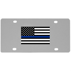 Police Thin Blue Line License Plate Wall Plaque