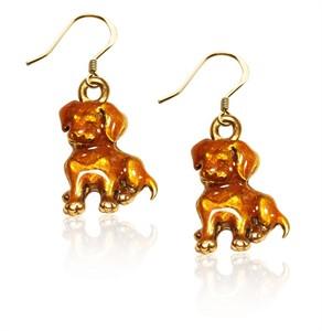 Puppy Charm Earrings in Gold