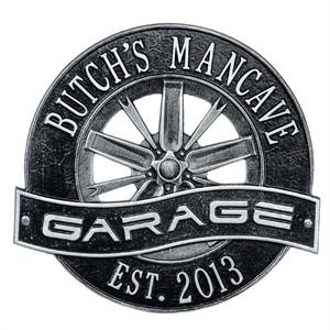 Personalized Racing Wheel Garage Plaque