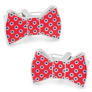 Red and Navy Polka Dot Bowtie Cufflinks