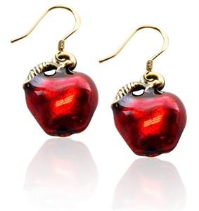 Red Apple Charm Earrings in Gold