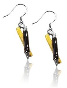 Ruler & Pencil Charm Earrings in Silver